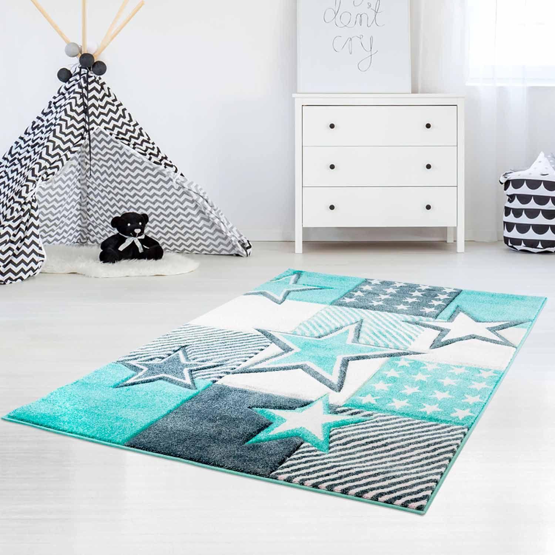 Kinderteppich mit Sternen Bueno Kids 1451 PastellTürkis