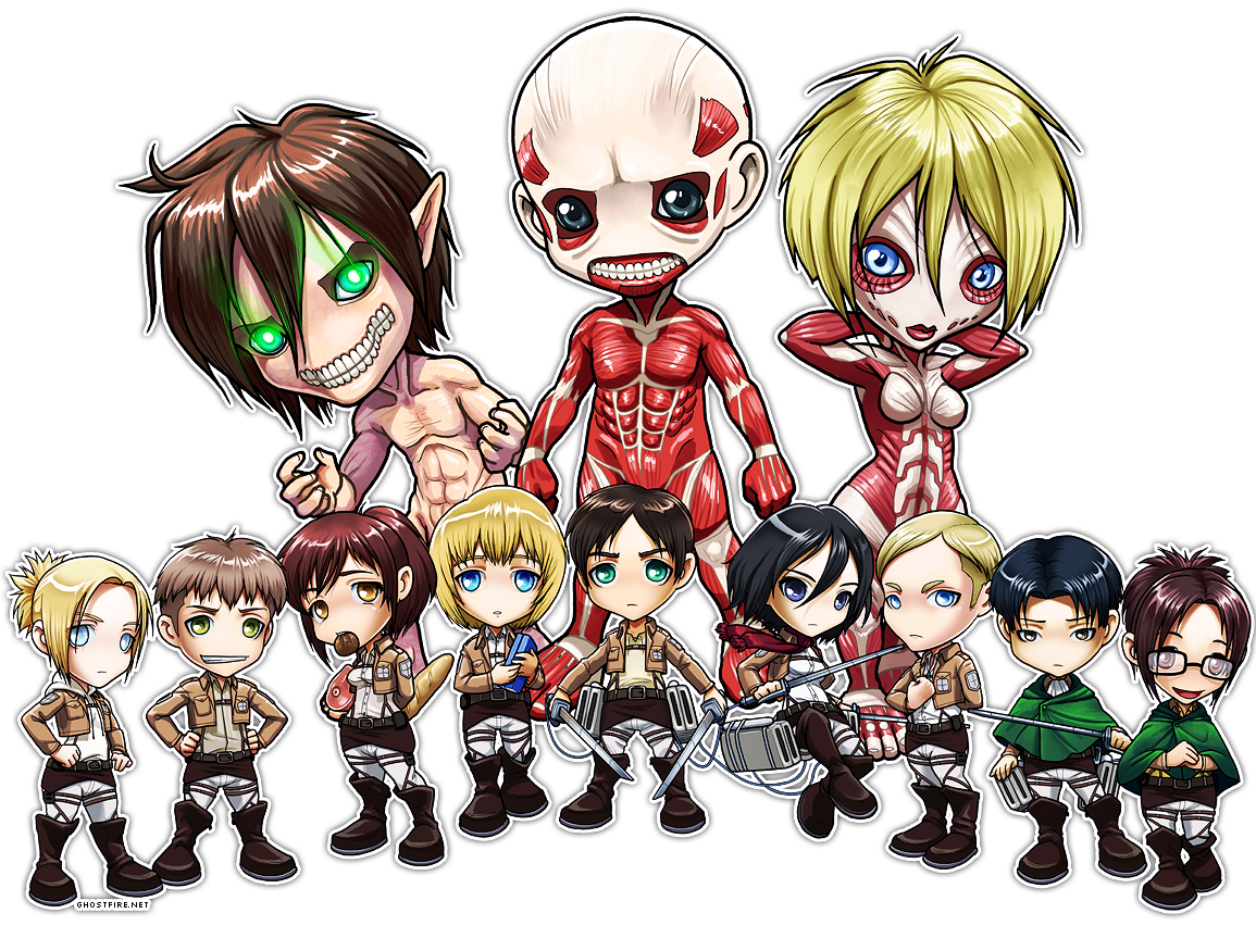Z Characters Anime : Attack of the titans funny on titan chibi group