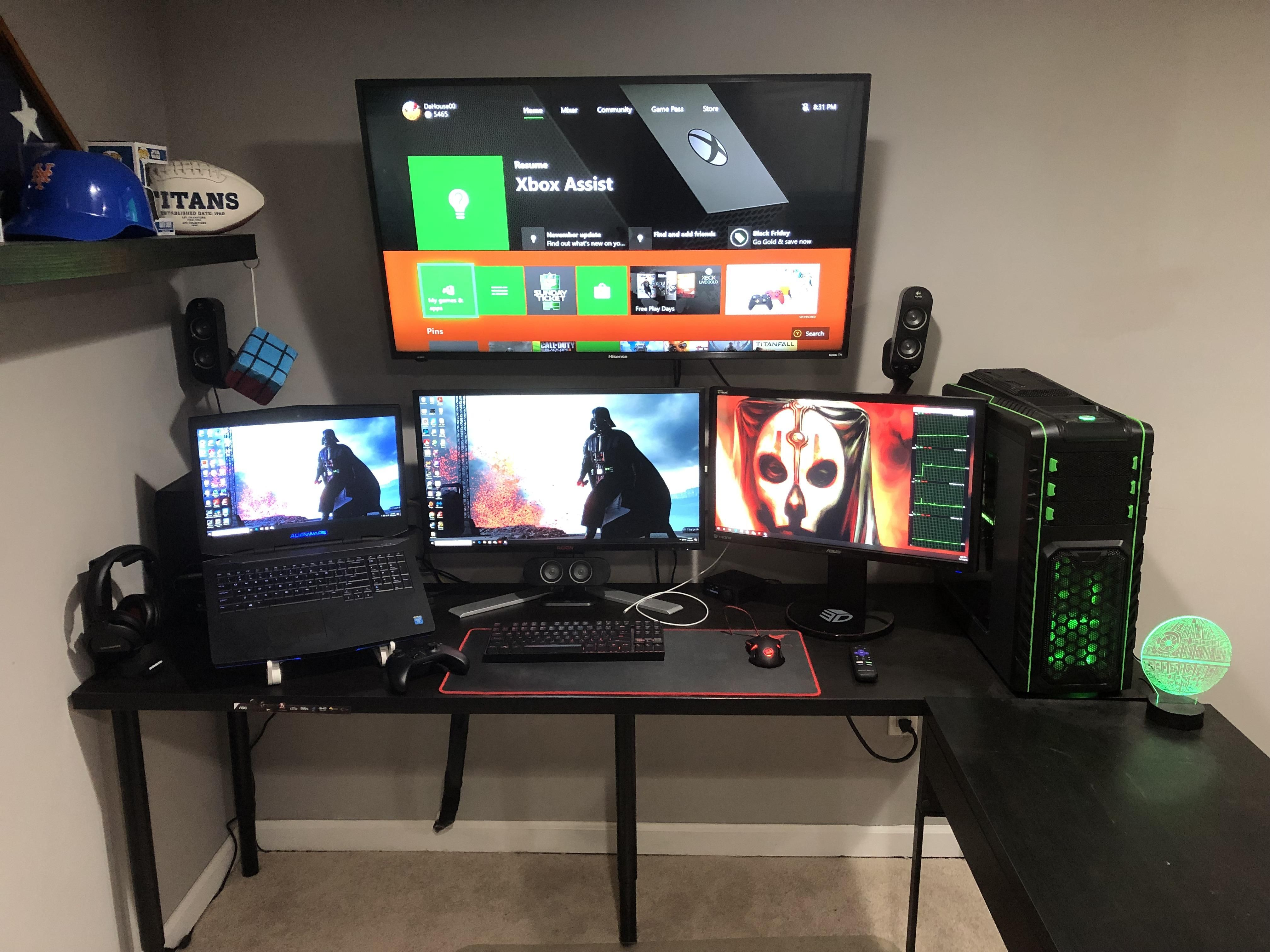 BATTLE STATION UPDATE Added 43 TV and 2080 ti | Gaming Setup Ideas