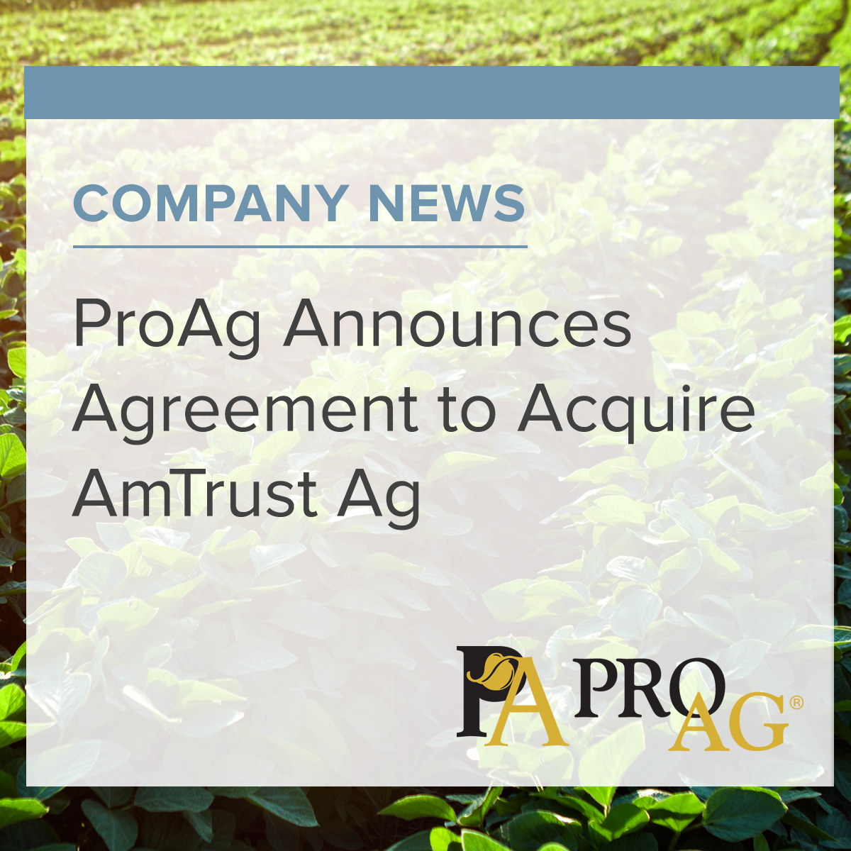 Announces Agreement To Acquire Amtrust Ag Crop Insurance