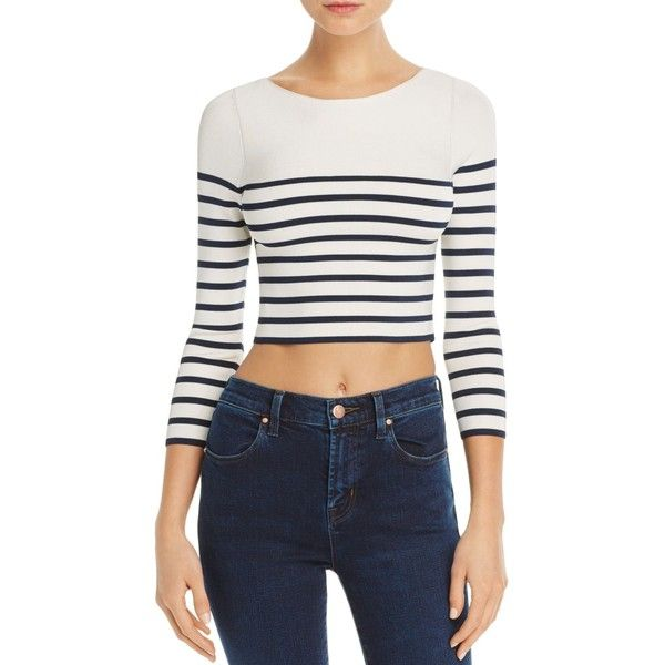 d55b2b2da8 T by Alexander Wang Stripe Crop Sweater ( 345) ❤ liked on Polyvore  featuring tops
