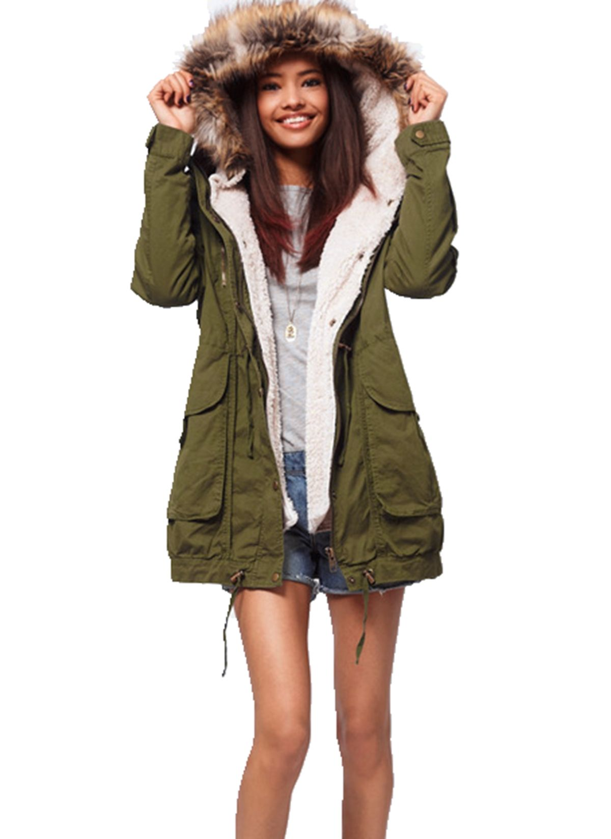 Women Thick Fleece Warm Faux Fur Coat Zip Hooded Parka Jackets Green Faux Fur Coat Fashion Warm Faux Fur Coat [ 1647 x 1200 Pixel ]