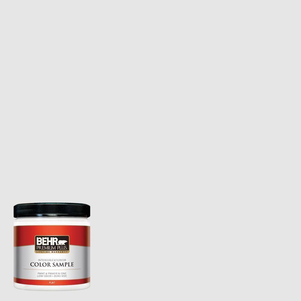 BEHR PREMIUM PLUS 5 gal. #PR-W09 Nimbus Cloud Flat Exterior Paint and Primer in One-405005 - The Home Depot