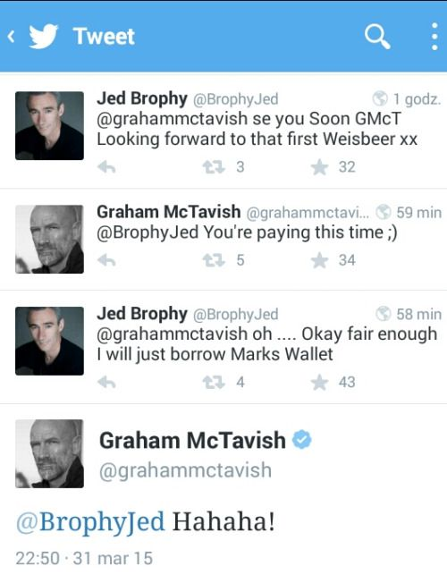 Graham McTavish and Jed Brophy on tweeter #funny