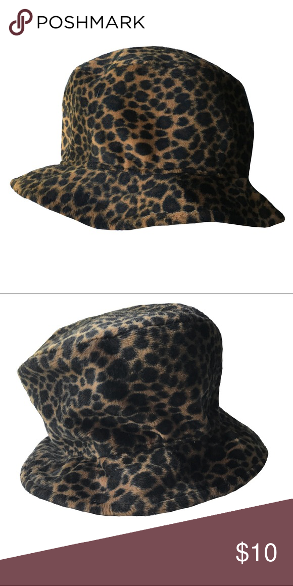 HAT - Fuzzy Leopard Print Bucket Hat A throw back to the 90 s - Leopard  print 19380545bb4