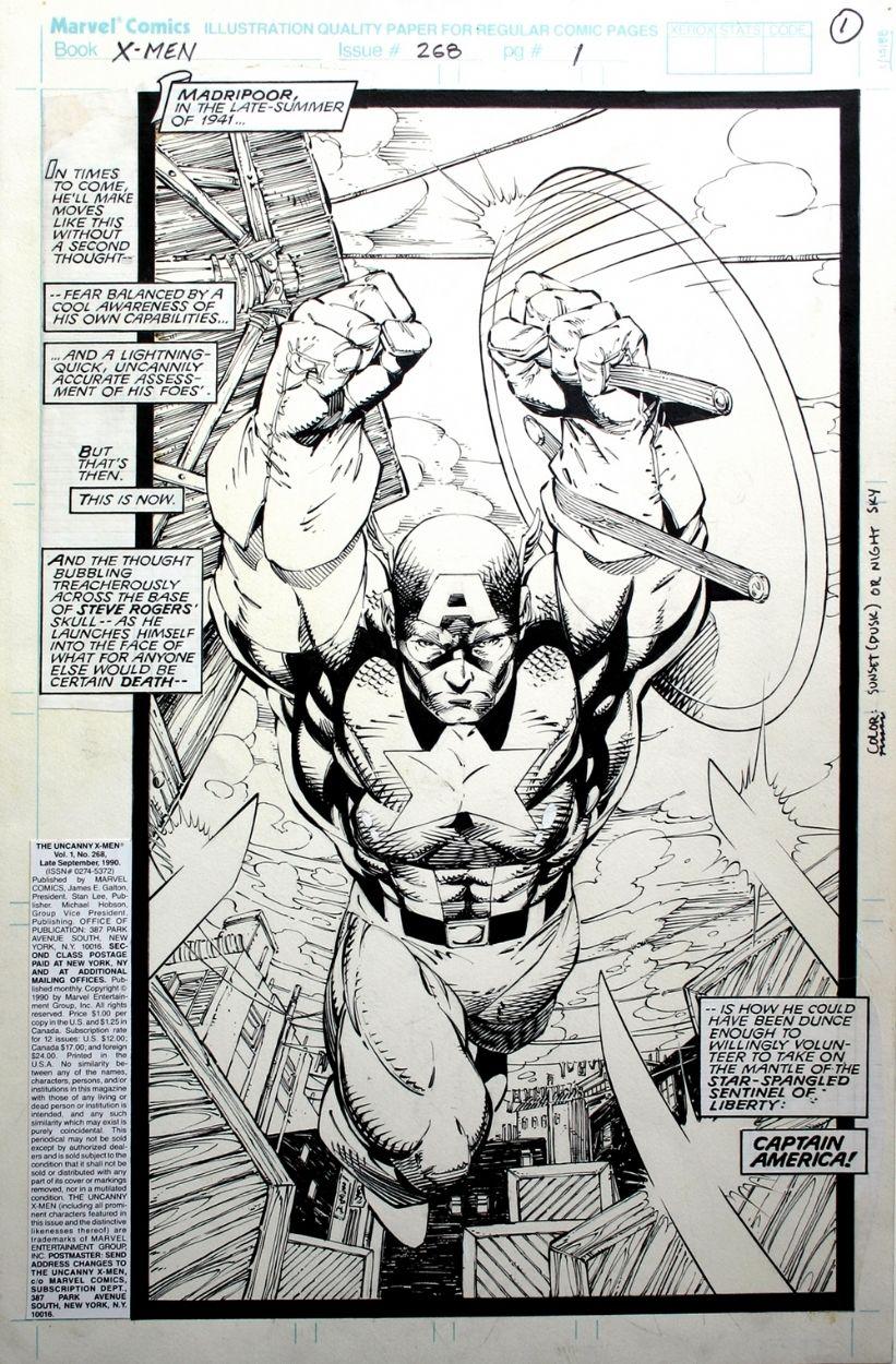 Jim Lee Uncanny X Men 268 Splash Comic Art Jim Lee Art Jim Lee Comic Books Art