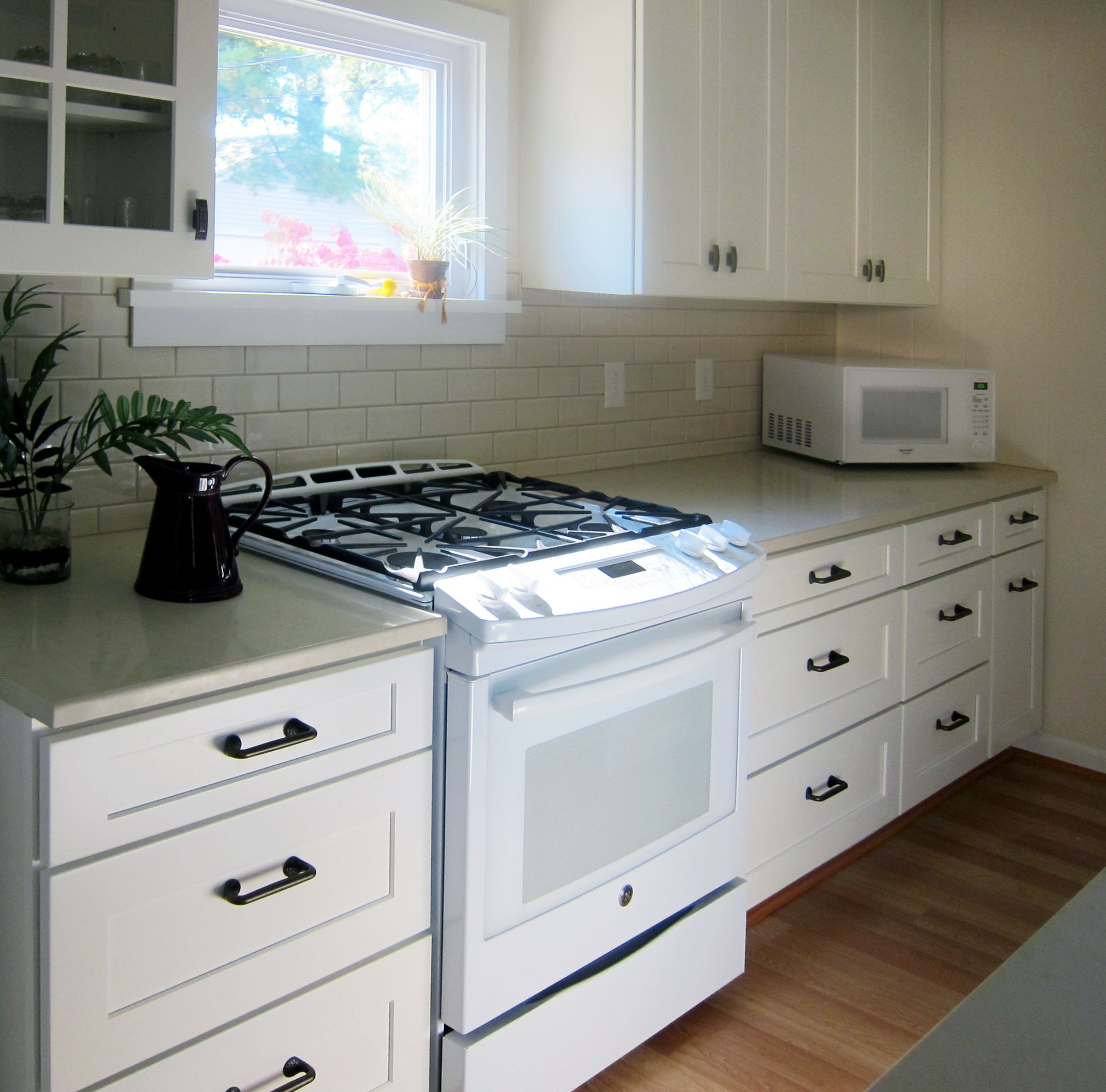 Replacing Kitchen Desk With Cabinets I Used Faircrest Shaker White Kitchen Cabinets. The