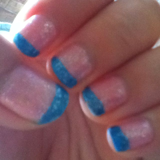 Blue & pink french tip