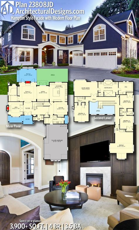 Plan 23808jd Hampton Style Facade With Modern Floor Plan In 2020 House Architecture Design Architecture House Modern Floor Plans