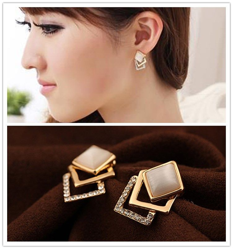 Find More Stud Earrings Information about Fashion Gold Plated Exquisite Solid Pierced Rhinestone Opal Stud Earrings Three Layer Geometric Square Earrings,High Quality opal stud earrings,China fashion stud earrings Suppliers, Cheap stud earrings from sanhe 888 Store on Aliexpress.com