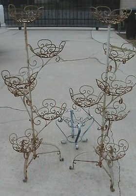 12de539e1af 3 VINTAGE WROUGHT IRON PLANT STANDS POT HOLDERS TWO LARGE   ONE SMALL
