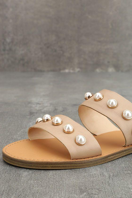 c27cdd618f3c Steve Madden Jole Nude Leather Slide Sandals
