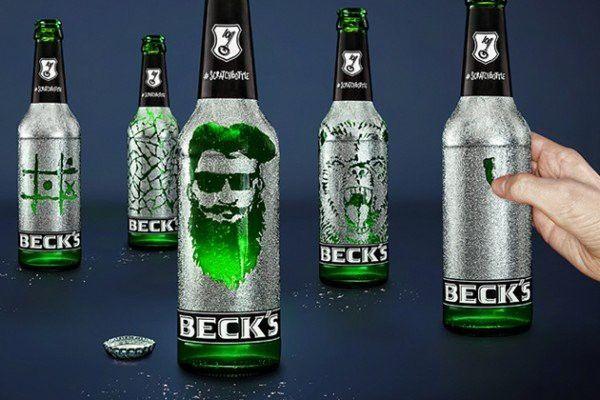 das bier f r k nstler die beck 39 s scratchbottle packaging beer label design verpackung. Black Bedroom Furniture Sets. Home Design Ideas