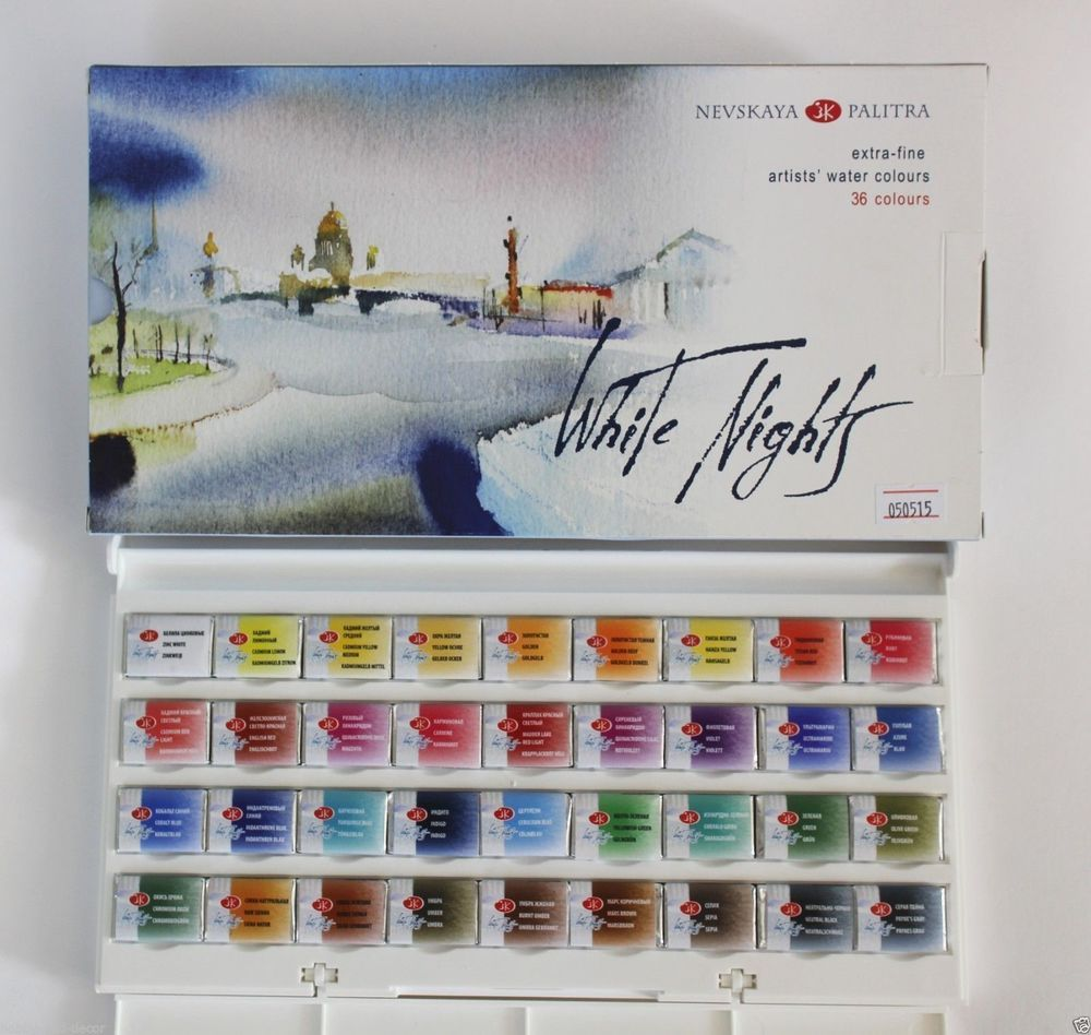Details About White Nights Watercolor 36 Colours Artists Paint Set