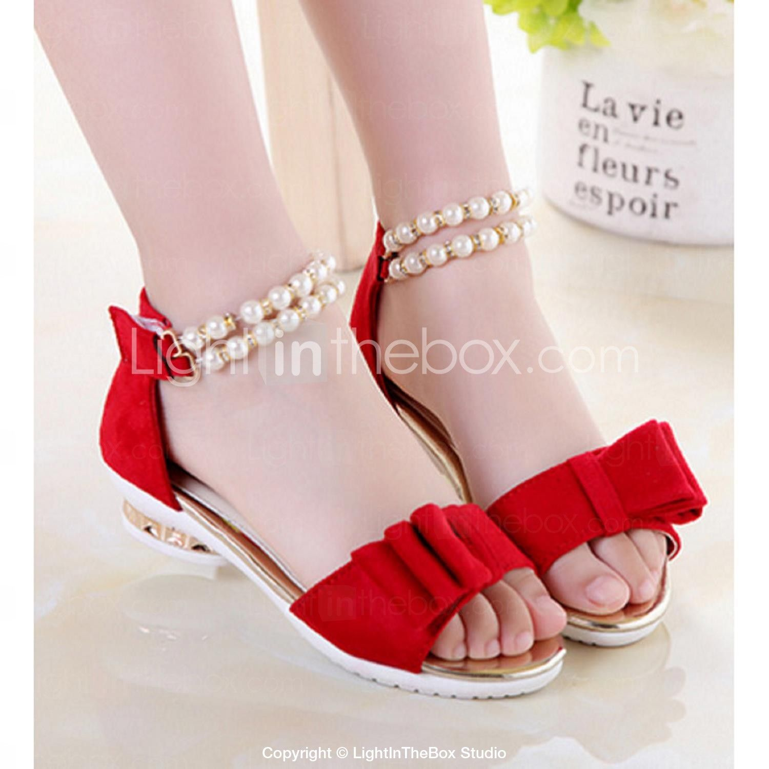 Shoes For Women PU Flat Heel T-Strap Round Toe Sandals Outdoor Dress Casual Black Pink