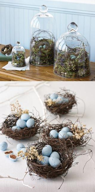 Easter decoration: blue eggs in nests and under  cloches   Easter egg . Osterei . œuf de Pâques   Photo: Williams - Sonoma @ Sparkling Ink  