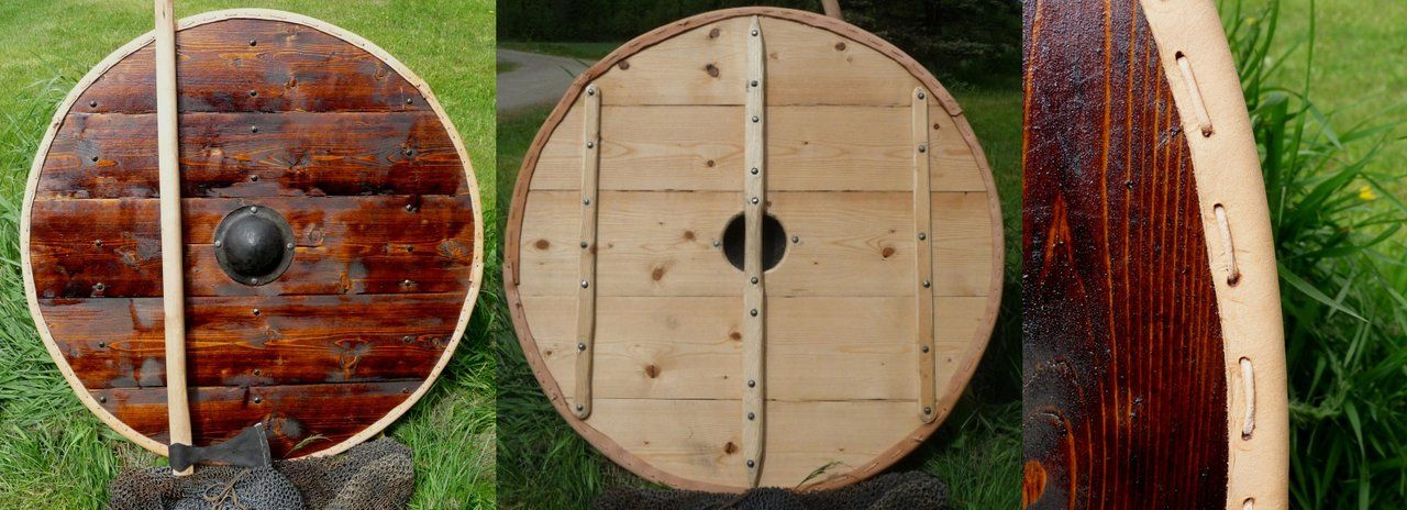 Viking shield. Boss is hand forged steel and wooden parts ...