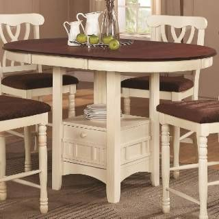 Coaster Furniture 102238 Addison Round Counter Height Table In White And Dark Cherry For The Home Dining Table With Storage Counter Height Table Sets Counter Height Dining Sets