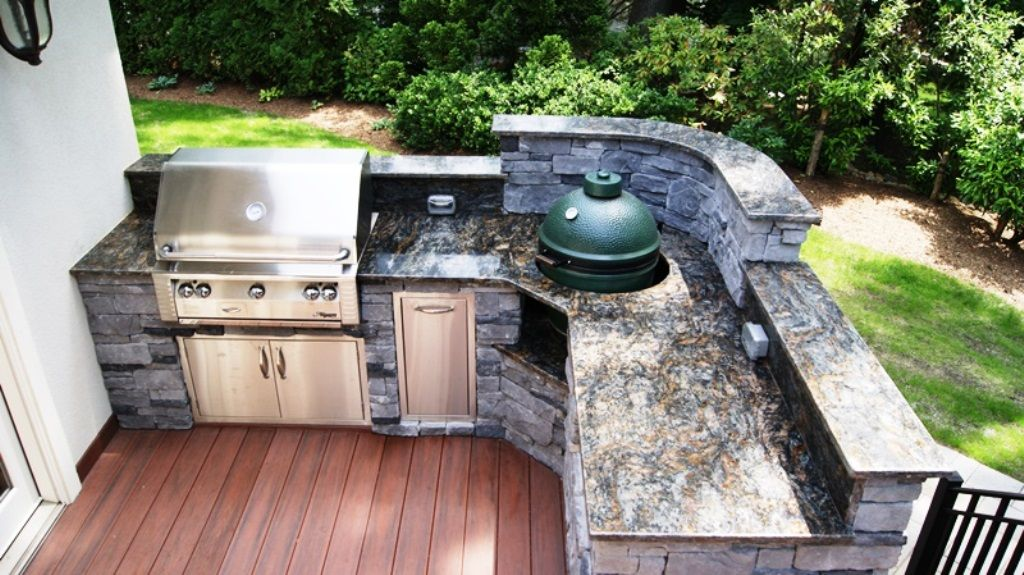 outdoor kitchen with green egg amazing custom kitchen amp granite with a viking 7246