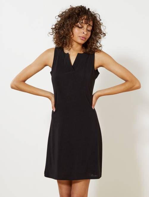 576b2a98fc10c Abito fluido collo a V nero Donna- Kiabi - little black dress ...