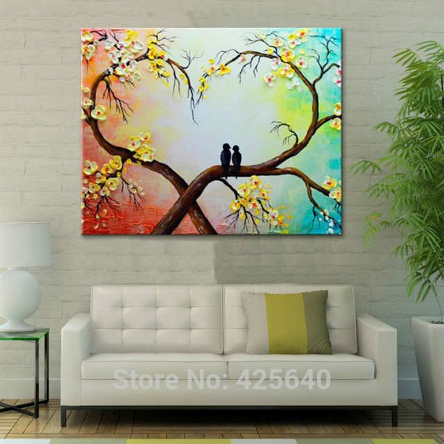 Canvas Painting palette knife 3D texture acrylic Flower tree love birds painting Wall art Pictures For Living Room home decor 01