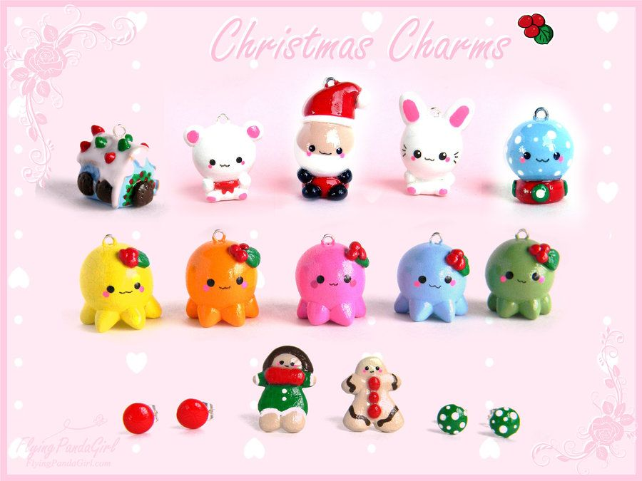 Polymer clay Christmas charms by FlyingPandaGirl