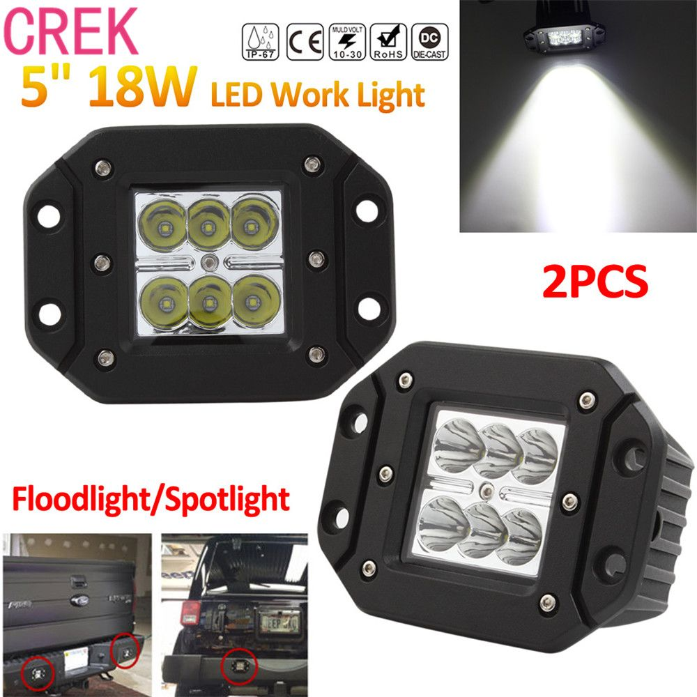 Crek 2x 18w 12v 24v 2000lm Waterproof Led Work Light For Motorcycle Tractor Boat 4wd Offroad Suv Atv Led Work Light Work Lights Car Led