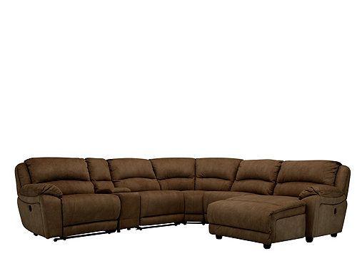 Cindy Crawford Mackenzie 6 Pc Microfiber Power Reclining Sectional Sofa Power Reclining Sectional Sofa Microfiber Sectional Couch Sectional Sofa