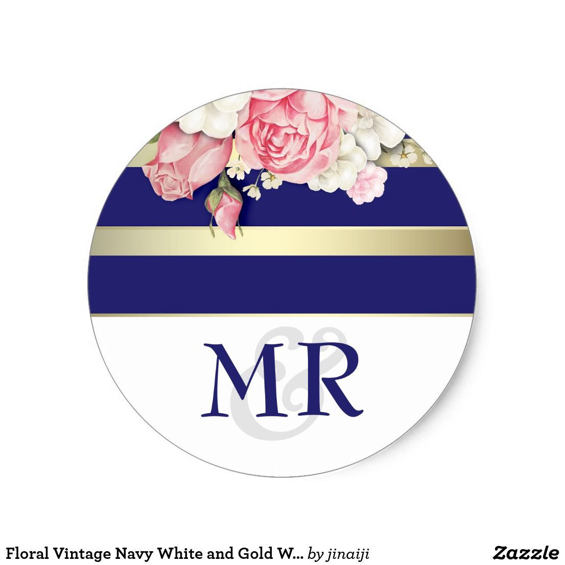 Floral Vintage Navy White and Gold Wedding Classic Round Sticker ...
