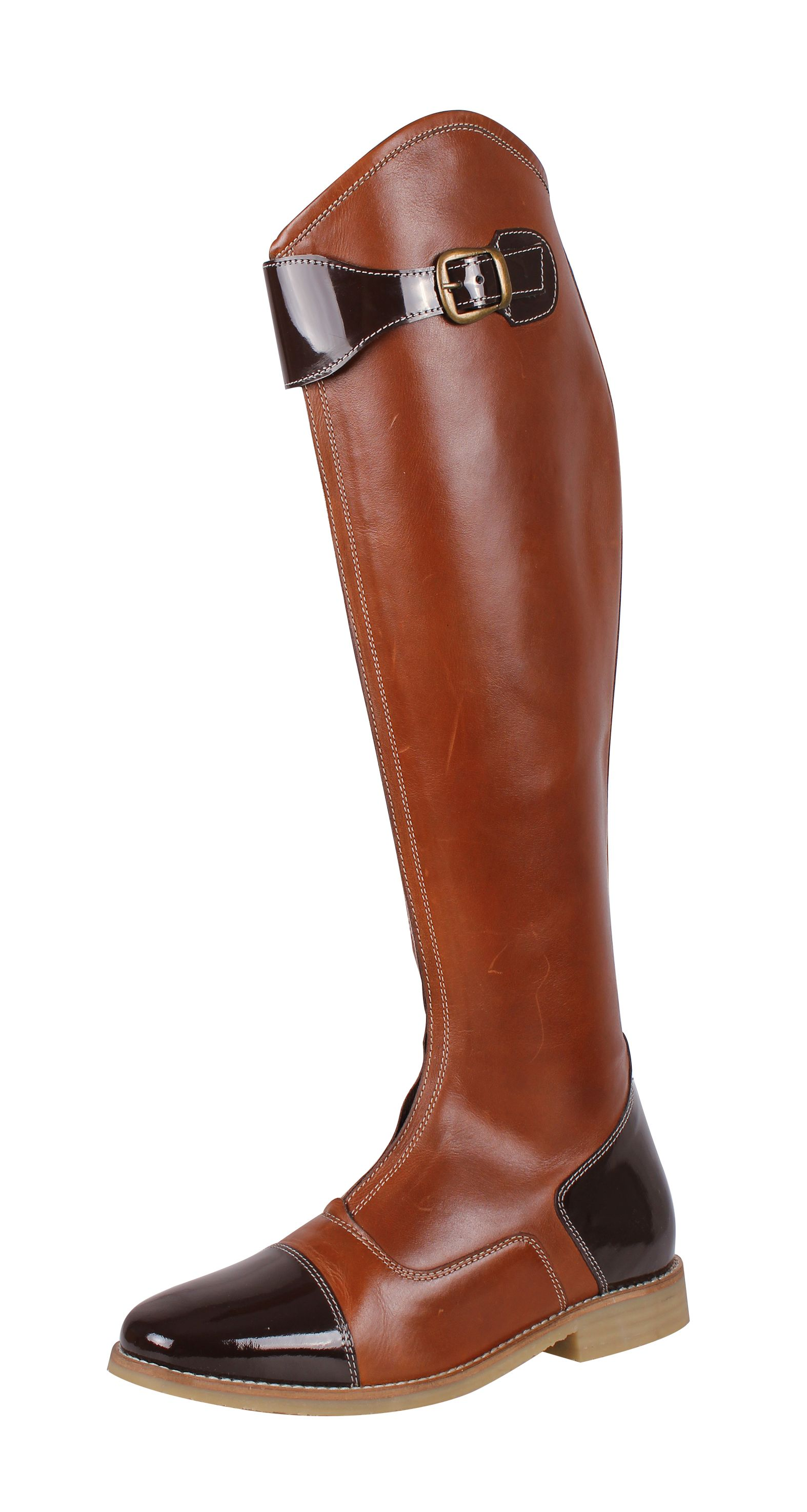 Riding boot features patent leather accentsWith zipper at the front and contrast stitchingThe boot is equiped with a barely visible elastic strip next to the zipperAlso available in wide calf (art.nr. 7104)