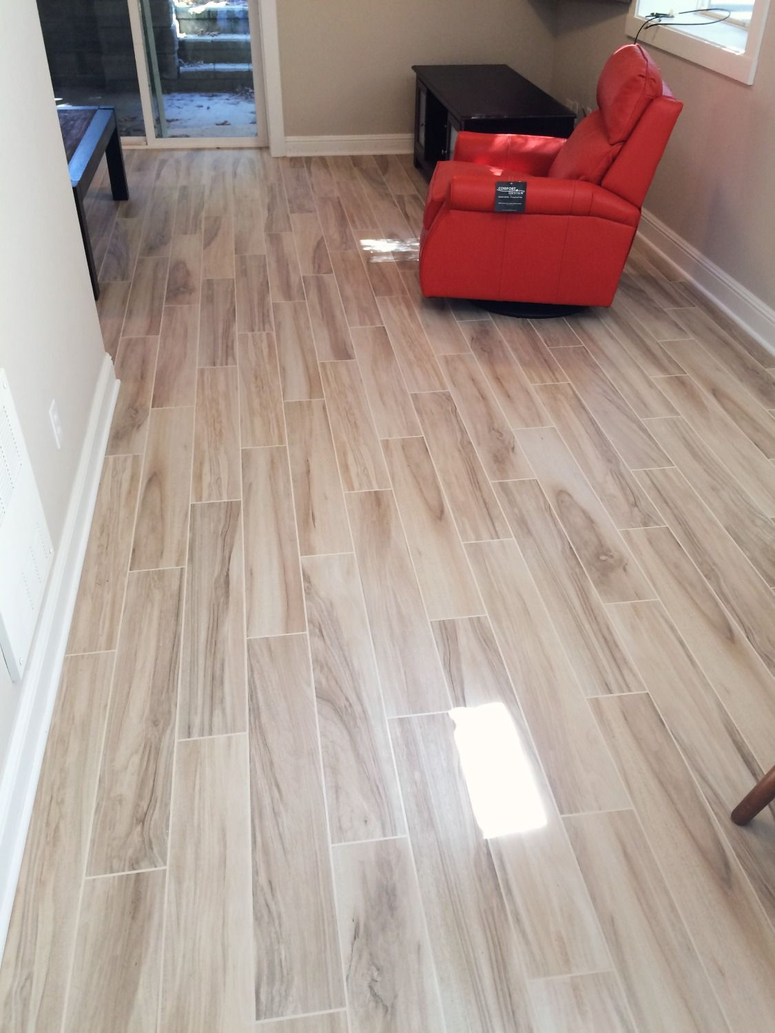 Wood Grain Porcelain Tile Installed In A Basement With Images