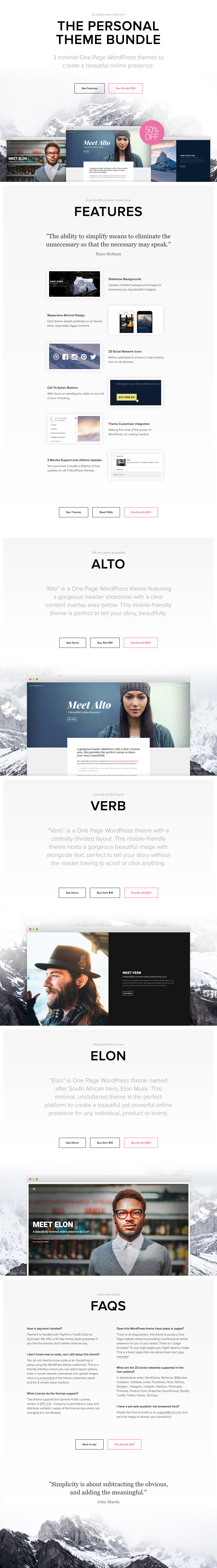 We've teamed up with @letscurrl to bring you this awesome Personal Theme Bundle deal! That's 3 minimal One Page WordPress themes to create a beautiful online presence at a 50% saving.