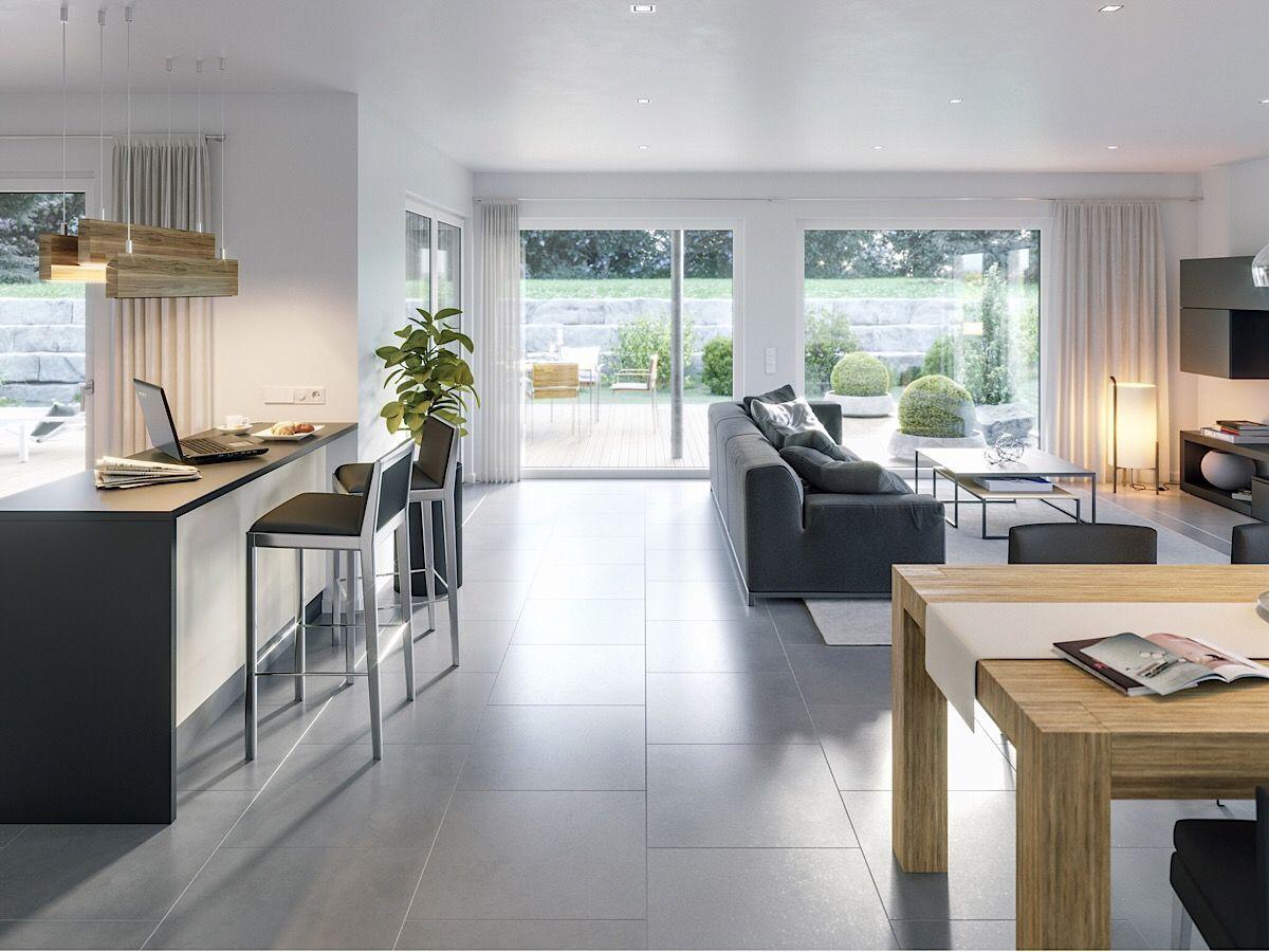 Offener Wohn Essbereich modern mit Küche & Theke