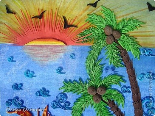 Картина панно рисунок Квиллинг Море солнце белый песок ...