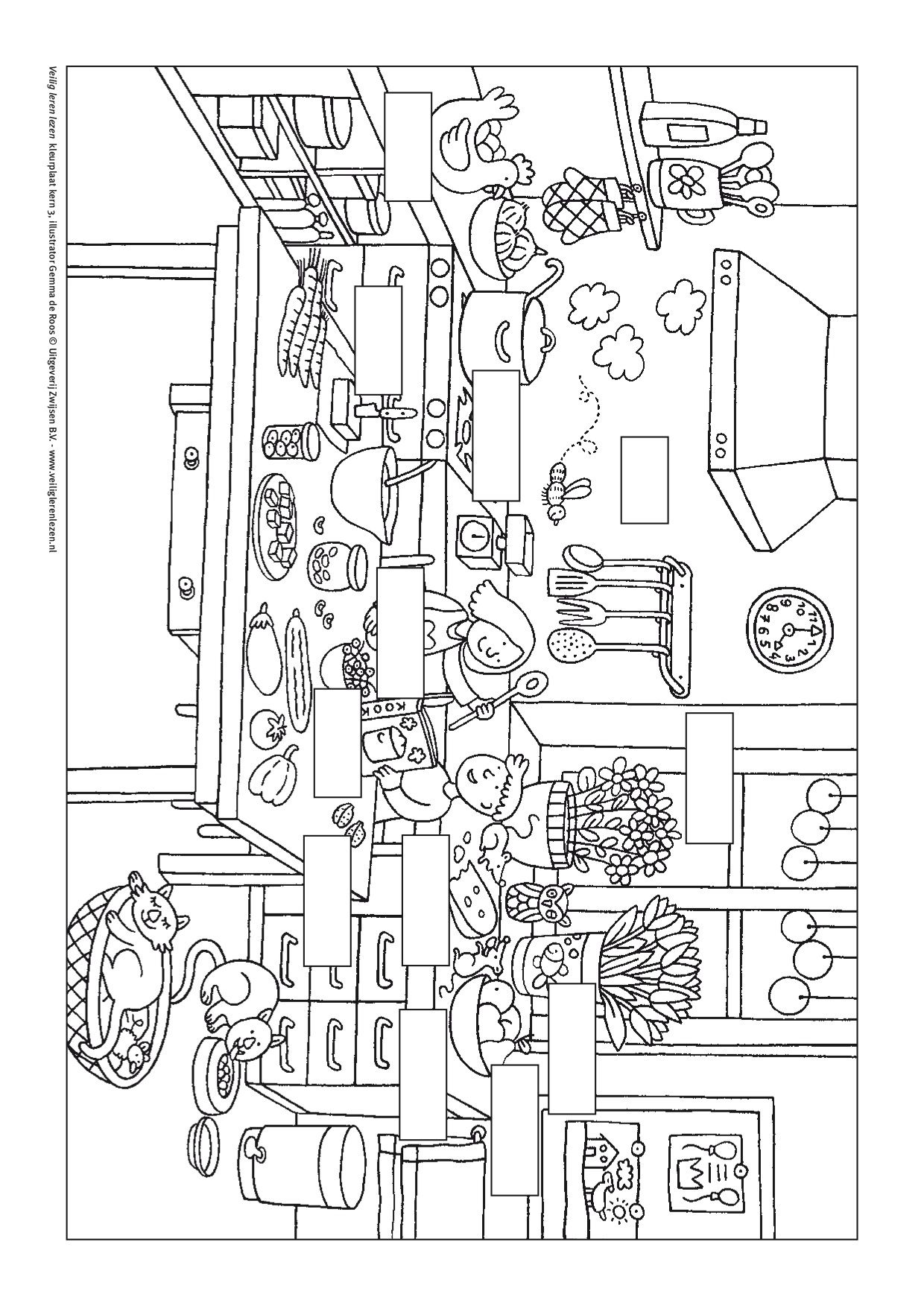 kleurplaat kern 3 met opdracht veilig leren lezen