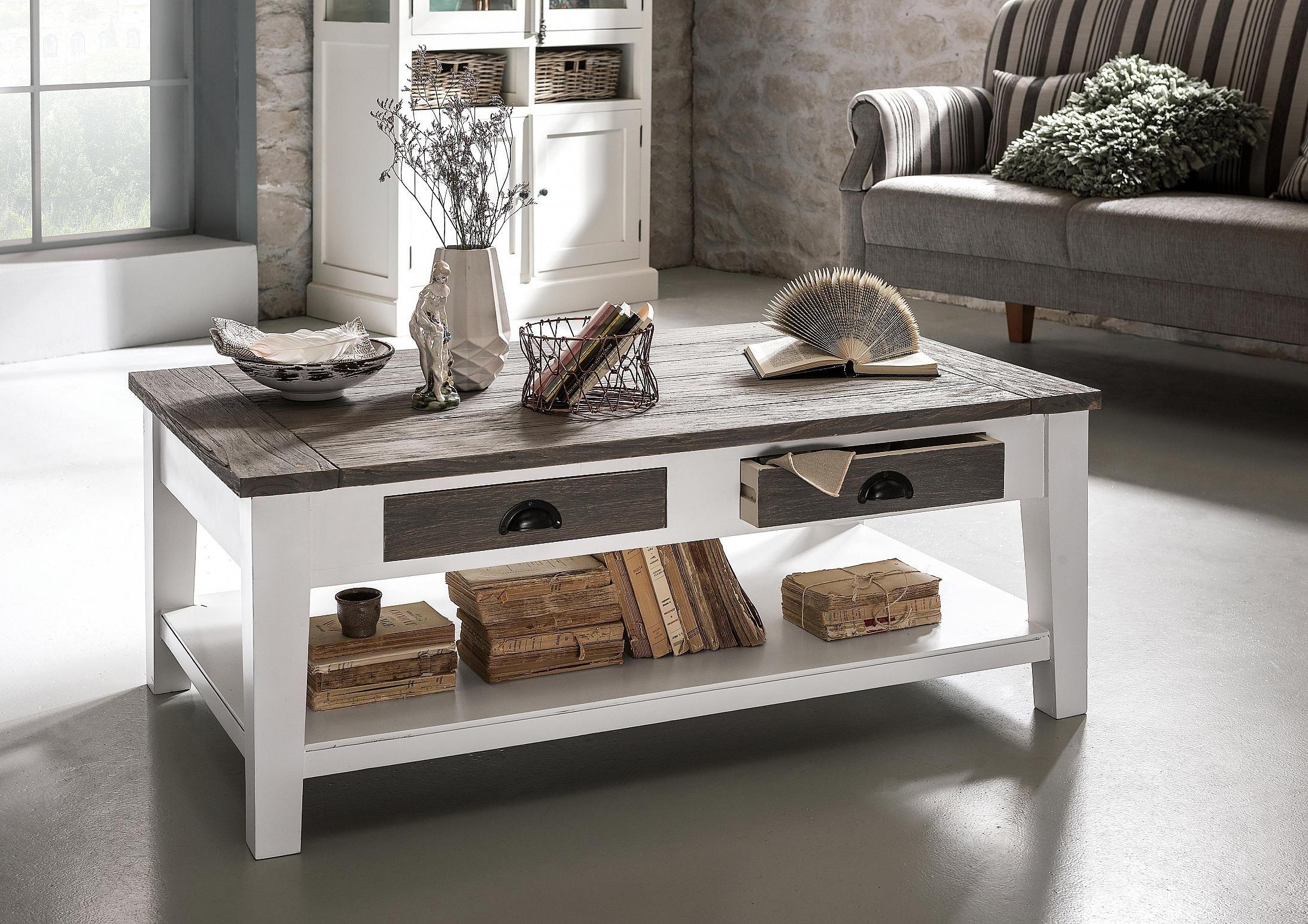 Deutsche Gemütlichkeit - Couchtisch als stilvolle Ergänzung im Wohnzimmer: weißes Massivholzgestell - Tischplatte washed grey - ca. 120 x 70 cm -  Produktnummer: 334096-099-00-260