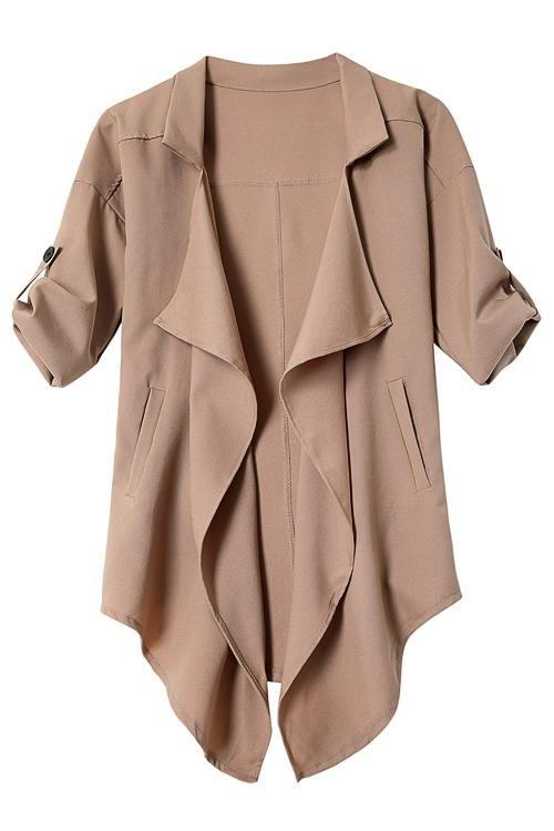 Khaki Irregular Hem Button Details Lapel Collar Trench Coat  -YOINS