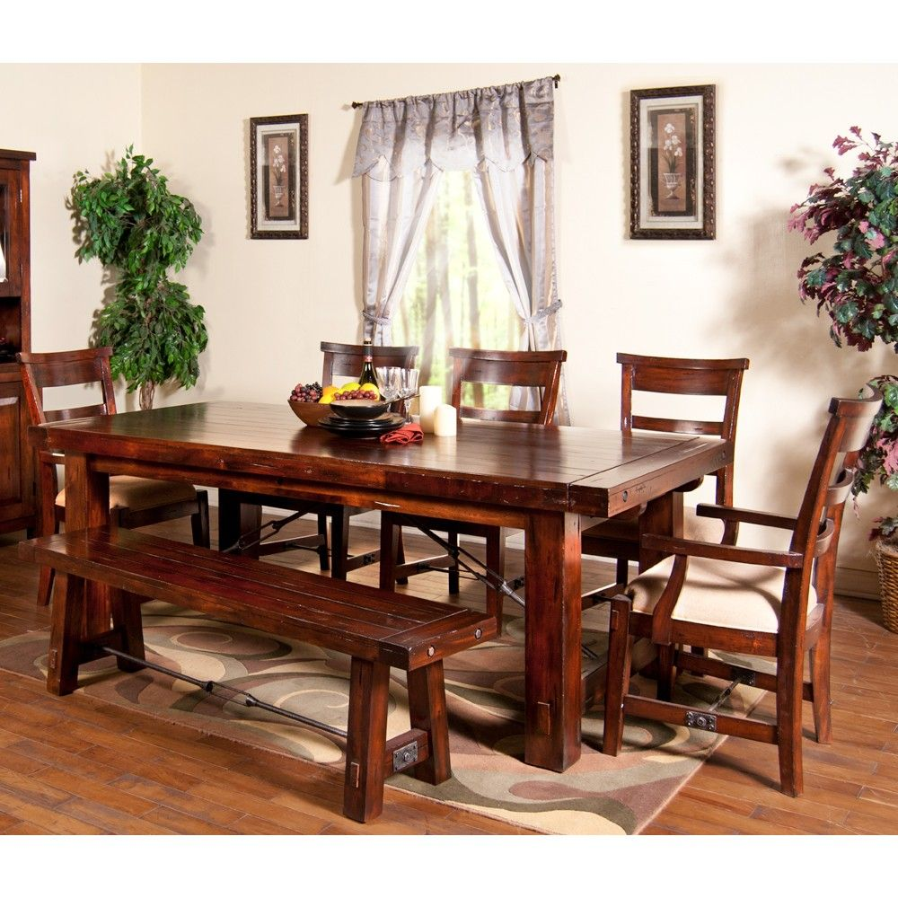 Vineyard wood rectangular dining table chairs in rustic mahogany by sunny designs humble abode