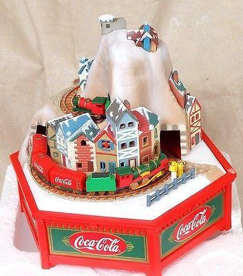 Coca Cola Train Musical Alpine Express Enesco 1992 White Christmas Enesco OB