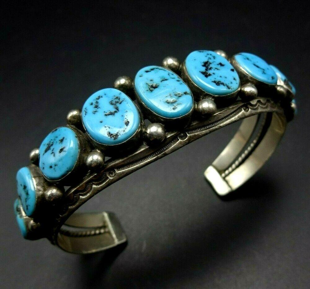 Classic Navajo Multi-stone Turquoise /& Sterling Silver BraceletCuff in Smaller Wrist Size