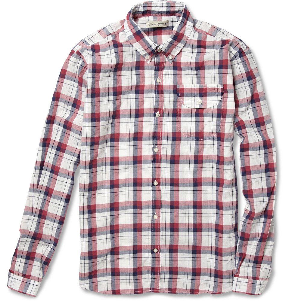 Oliver Spencer- Plaid Button-Down Collar Cotton Shirt.