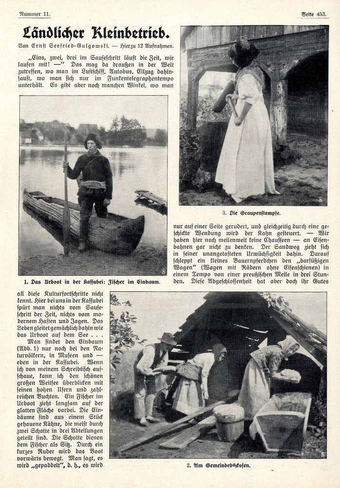 Ländliche Kleinbetriebe Fischer im Einbaum in der Kassubei Gemeidebackofen..1913…