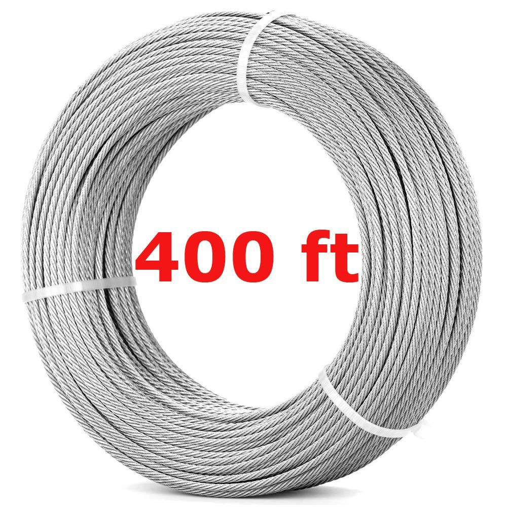 316 Stainless Steel Wire Rope 400ft 122m 7x7 Marine Grade Stainless Steel Aircraft Cabl Stainless Steel Cable Railing Cable Railing Stainless Steel Cable