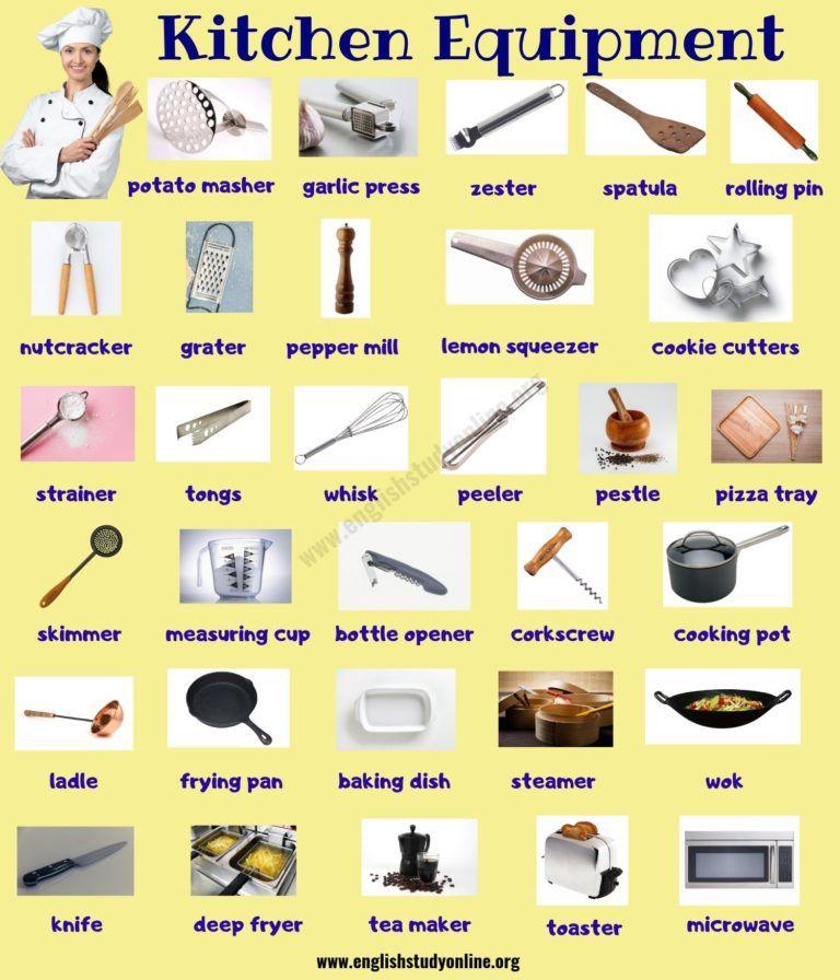 Kitchen Equipment Useful List Of 55 Kitchen Utensils With Picture English Study Online Kitchen Equipment Kitchen Utensils Kitchen Utensils List