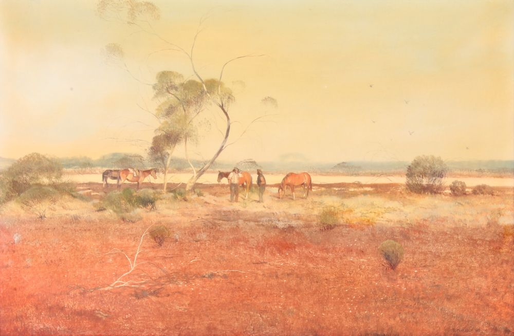 "Lot 388, B Malloch, oil on board, signed and dated 1960, Australian outback study with figures and horses 13"" x 20"", est £150-200"