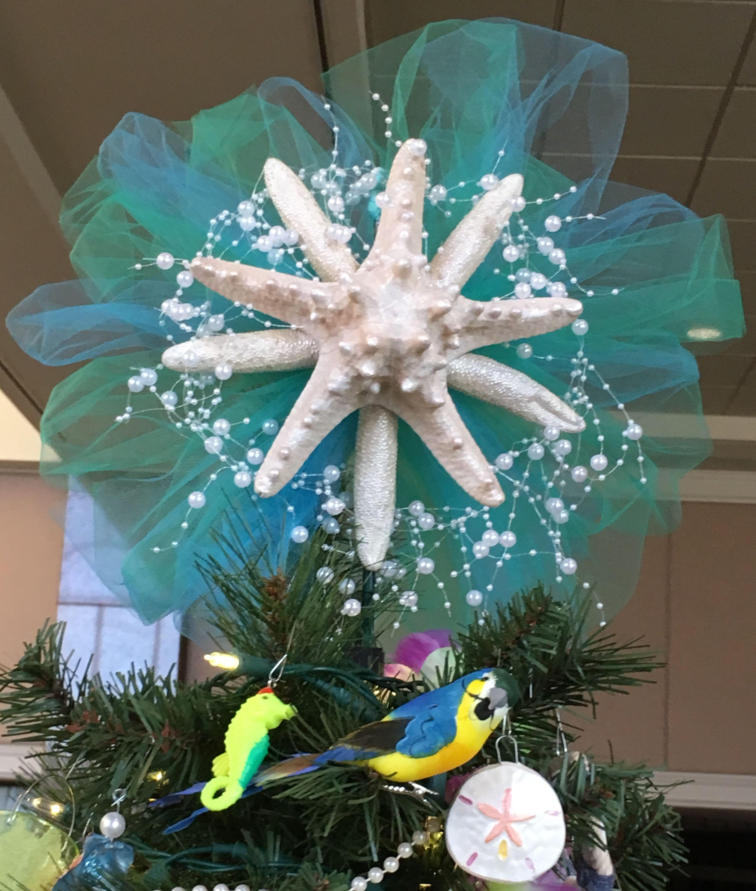 Hawaiian Christmas Tree Topper: Christmas Starfish Tree Topper; Beach, Tropical, Coastal