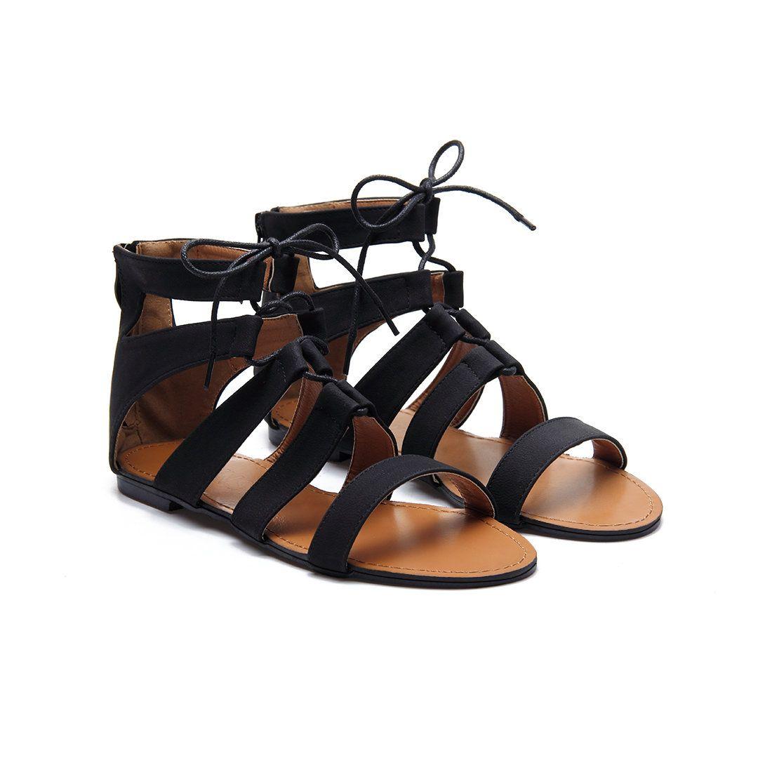 fdbd9a87b38c Black Leather Look Zipper Back Lace-up Peep Toe Caged Flat Sandals ...