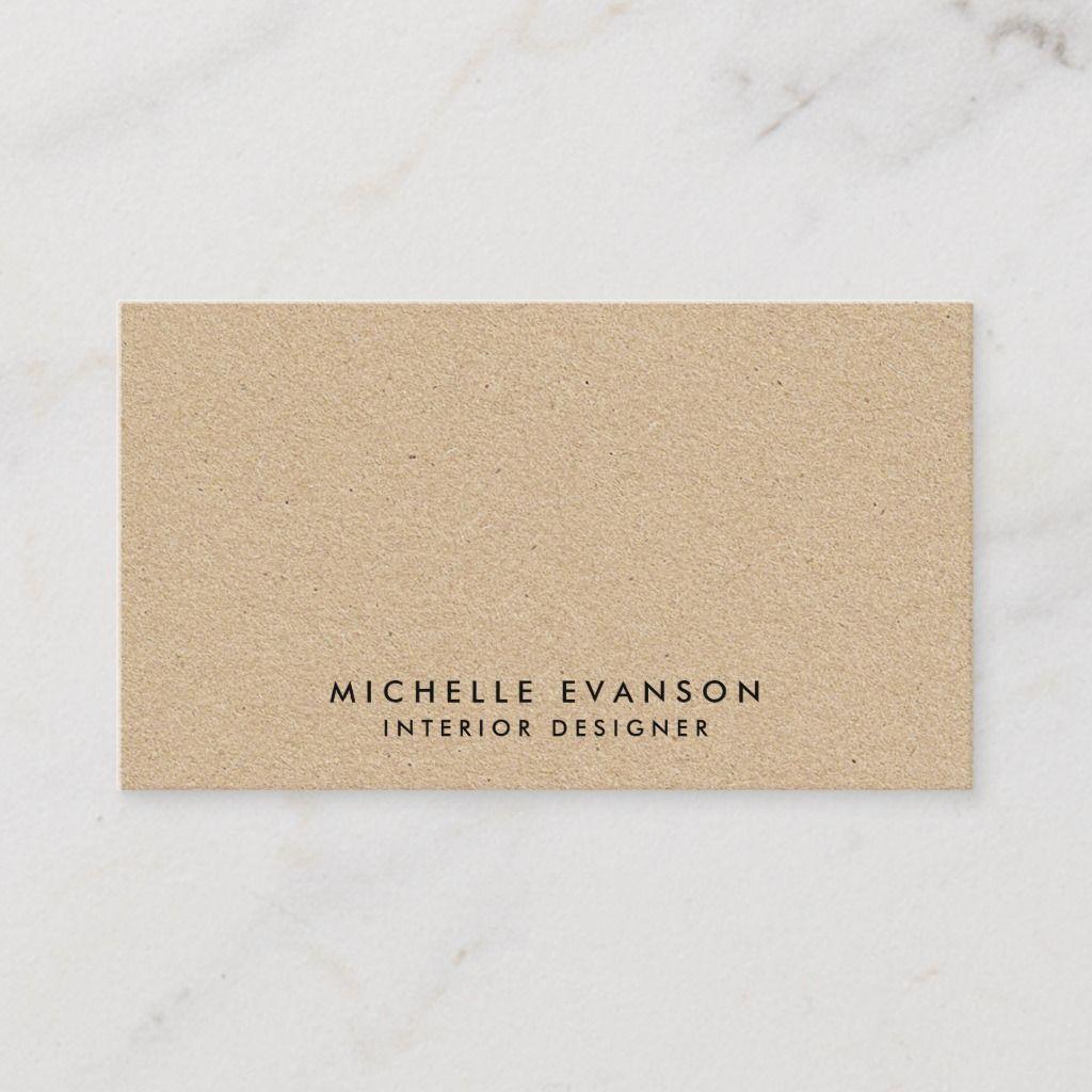 Simple Minimal Tan Kraft Look Rustic Business Card Cards