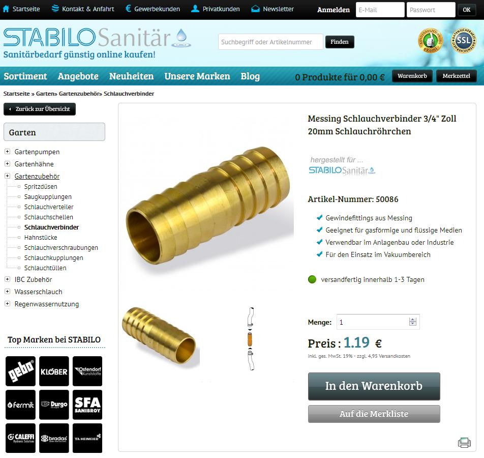 Stabilo Sanitaer Schlauchverbinder 3 4 Zoll 19mm 20mm Messing Schlauchrohrchen Verbindungsstuck Schlauchverbindung Sanitar Installateur Stabilo