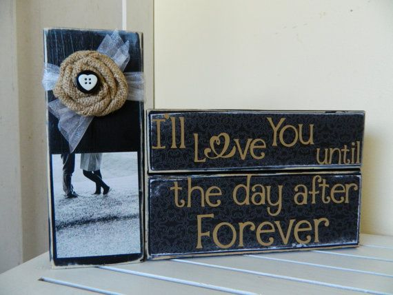 Wedding Decoration Or Gift Black Decor I L Love You Until The Day After Tomorrow Burlap Flower With Picture But Black Decor Wedding Sign Decor Gift Decorations